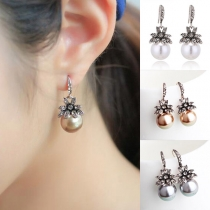 Fashion Rhinestone Pearl Inlaid Sunflower Shaped Earrings