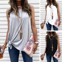 Simple Style Sleeveless Round Neck Solid Color Loose Top