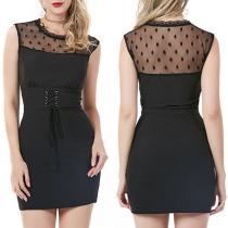 Fashion Sleeveless Round Neck Lace Spliced Slim Fit Dress
