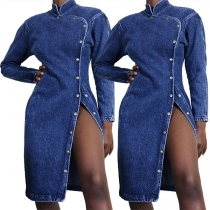Retro Style Long Sleeve Stand Collar Single-breasted Denim Dress
