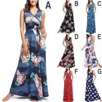 Fashion Sleeveless V-neck High Waist Printed Maxi Dress