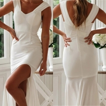 Sexy Backless Slit Hem Sleeveless Solid Color Party Dress