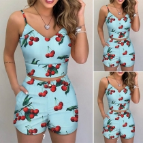 Sexy V-neck Cherry Printed SLing Crop Top + Shorts Two-piece Set