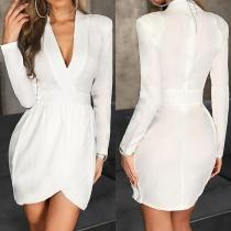 OL Style Long Sleeve V-neck Solid Color Slim Fit Dress