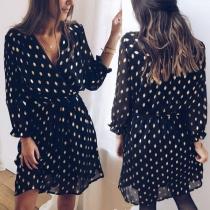 Fashion Long Sleeve V-neck Gold Dots Printed Dress