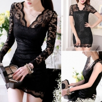 Sexy Hollow Out Lace Spliced Long Sleeve V-neck Slim Fit Dress