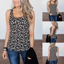 Fashion Sleeveless U-neck Leopard Printed Top