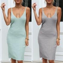 Sexy Backless V-neck Solid Color Slim Fit Sling Dress