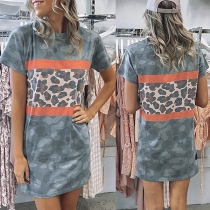 Casual Style Short Sleeve Round Neck Camouflage Printed T-shirt Dress