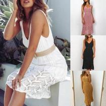 Sexy Backless V-neck Solid Color Knit Sling Dress