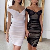 Sexy Gauze Spliced Sleeveless V-neck Slim Fit Dress