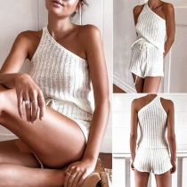 Sexy One-shoulder Sleeveless Top + Shorts Two-piece Set