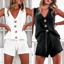 Fashion Solid Color Sleeveless V-neck Top + Shorts Two-piece Set