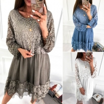 Sexy Lace Spliced Long Sleeve Round Neck Loose Dress