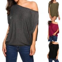 Sexy Oblique Shoulder Dolman Sleeve Solid Color Loose T-shirt