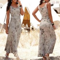 Fashion Sleeveless Round Neck Slit Hem Printed Maxi Dress