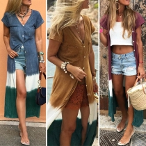 Chic Style Short Sleeve V-neck Contrast Color Cardigan