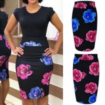 Fashion High Waist Skim Fit Printed Skirt