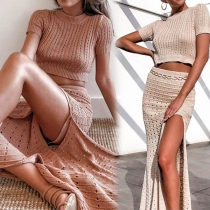Sexy Short Sleeve Crop Top + Slit Hem Fishtail Skirt Two-piece Set