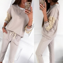 Fashion Lace Spliced Long Sleeve Sweatshirt + Pants Sports Suit