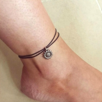 Simple Style Sunflower Pendant Dual-layer Anklet