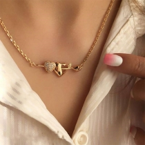 Fashion Gold-tone Heart Pendant Necklace