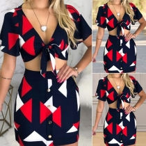 Sexy Short Sleeve V-neck Printed Crop Top + Skirt Two-piece Set