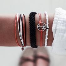 Bohemian Style Coconut Tree Braided Bracelet Set 4 pcs/Set
