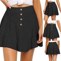 Fashion Solid Color High Waist Ruffle Hem Skirt