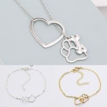 Chic Style Dog's Paw & Heart Bracelet