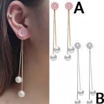 Fashion Pearl Pendant Long Tassel Earrings