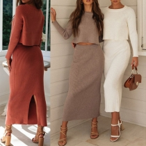 Fashion Solid Color Long Sleeve Knit Top + Slit Hem Skirt Two-piece Set