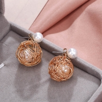 Fresh Style Pearl Inlaid Bird's Nest Shaped Stud Earrings