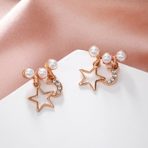 Fashion Pearl Inlaid Star Crescent Shaped Stud Earrings