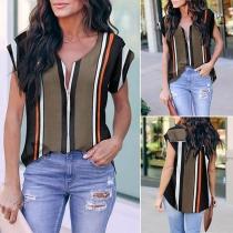 Fashion Short Sleeve V-neck Striped Blouse