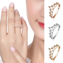 Fashion Rhinestone Inlaid Crown Shaped Ring