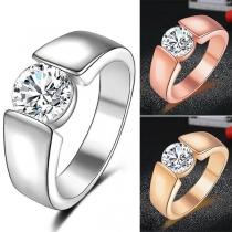 Simple Style Rhinestone Inlaid Man's Ring