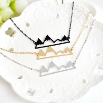 Chic Style Hollow Out Mountain Peak Pendant Necklace