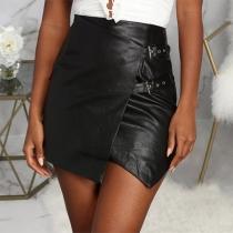 Fashion High Waist Irregular Hem Slim Fit PU Leather Skirt