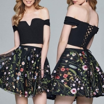Sexy Off-shoulder Boat Neck Crop Top + Embroidered Skirt Two-piece Set