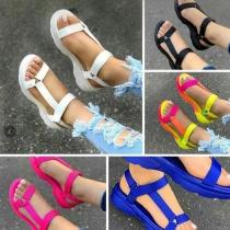 Simple Style Flat Heel Open Toe Sandals
