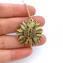 Chic Style Openable Sunflower Pendant Necklace