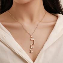 Simple Style Portrait Pendant Necklace