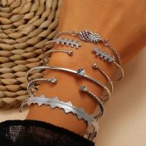 Fashion Rhinestone Inlaid Alloy Bracelet Set 6 pcs/Set