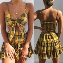 Sexy Backless Knotted Plaid Sling Top + Skirt Two-piece Set