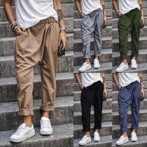 Fashion Solid Color Elastic Waist Loose Pants