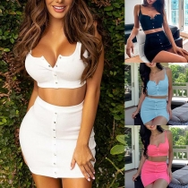 Sexy Backless Sling Crop Top + Skirt Two-piece Set