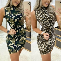 Fashion Sleeve Mock Neck Camouflage/Leopard Printed Dress