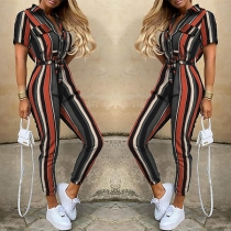 Fashion Short Sleeve POLO Collar High Waist Striped Jumpsuit(The size falls small)