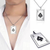 Creative Style Playing Card Pendant Necklace